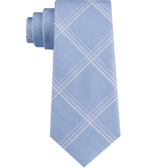 Michael Kors blue plaid tie new with tags